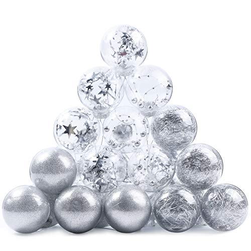 Joyjoz Bolas de Navidad Decoraciones Ornamentales Bolas de Plastico Plateado, 24 Piezas en 4 Tipos, 6 cm Adornos Transparentes Bolas para la Decoración del Arbol de Navidad
