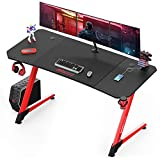 BOSSIN Gaming Desk 63 Inch Z Shaped Computer Desk Racing Style Office Table Gamer Pc Workstation Game Station with Free Mouse Pad, Handle Rack, Cup Holder and Headphone Hook(63inch, Red)