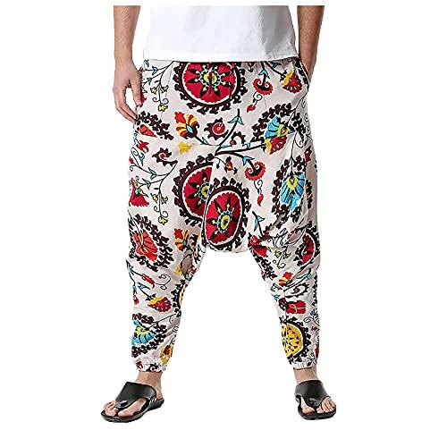 THNF Pantalones harén para hombre, verano, talla grande, cintura alta, sueltos, elásticos, elegantes, vintage, nacionalidad del Estado, estampado de flores, azul, XXL