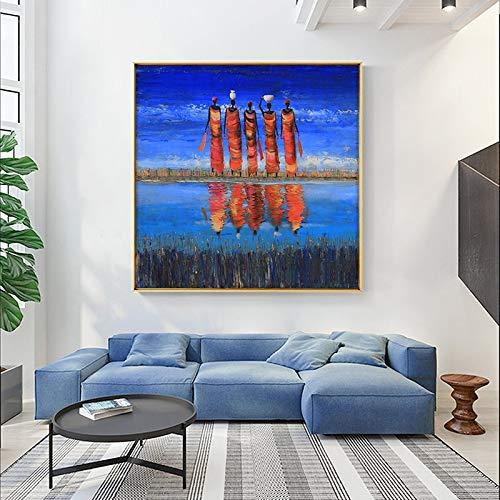 hetingyue Mujer Negra Orilla del río África Pintura al óleo Abstracta sobre Lienzo póster e Impresiones Arte escandinavo Pared Sala Imagen 50x50cm