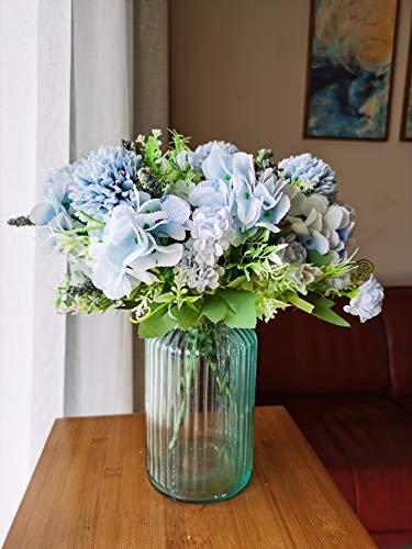 4 confezioni di ortensie artificiali, fiori di seta, bouquet di nozze, feste, bouquet da sposa, accessori per la casa, 7 forchette (blu)