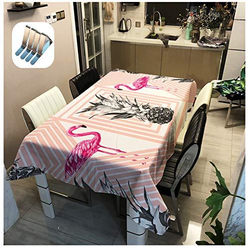 Tovaglia Romantic Pink Flamingo Design Tropical Style Ananas Green Leaf Pattern Floreale, Cucina Antifouling Waterproof Hotel Matrimoni Compleanno Party Tovaglie (Fenicotteri #4,90x90 cm)