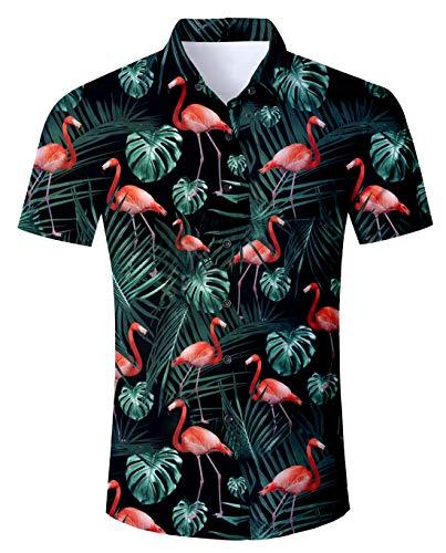 Funnycokid Camisas Hawaianas Estampadas para Hombre Botones de Manga Corta con Estampado de Flamenco Divertido Blusas para Hombres con Pantalones de Playa Bañador