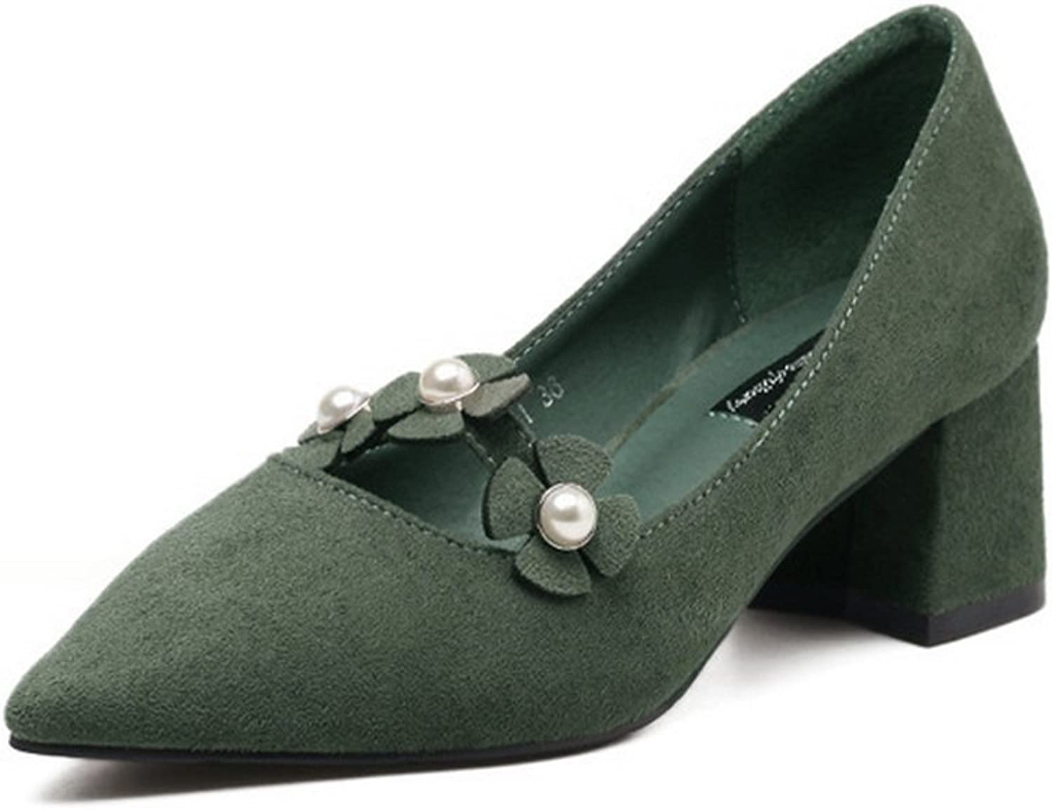 1TO9 Womens Beaded Chunky Heels Pointed-Toe Green Suede Pumps shoes - 6.5 B(M) US