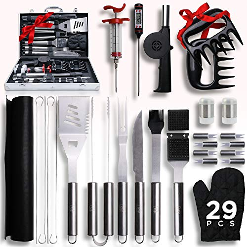 Accesorios para parrilla, juego completo de herramientas para asar – Estuche de aluminio duradero – 29 accesorios para barbacoa: Tapete - inyector - temperatura - soplador - garras - kit de utensilios de barbacoa para exteriores, camping, regalo para hombres