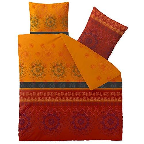 CelinaTex Fashion Bettwäsche 200x220 cm 3teilig Baumwolle Legra Blumen Rot Orange Grau
