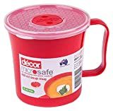 Décor <span class='highlight'><span class='highlight'>Microsafe</span></span> Soup Mug | BPA Free | Microwave Bowl | Steam Release Vent| Dishwasher Safe, Red, 500ml