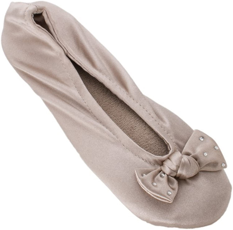 ISOTONER Women's Classic Satin Ballerina Slipper (Small - 5-6, Bling Stone)