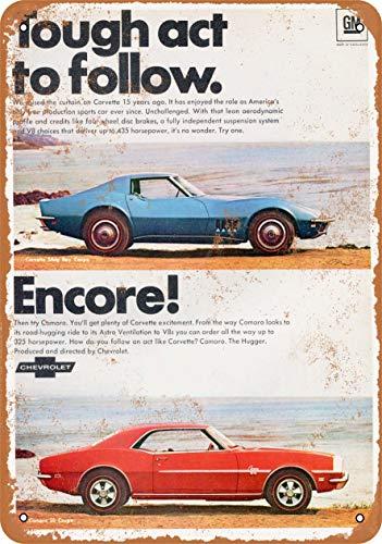 Camaro and Corvette Blechschild Retro Blech Metall Schilder Poster Deko Vintage Kunst Türschilder Schild Warnung Hof Garten Cafe Toilette Club Geschenk
