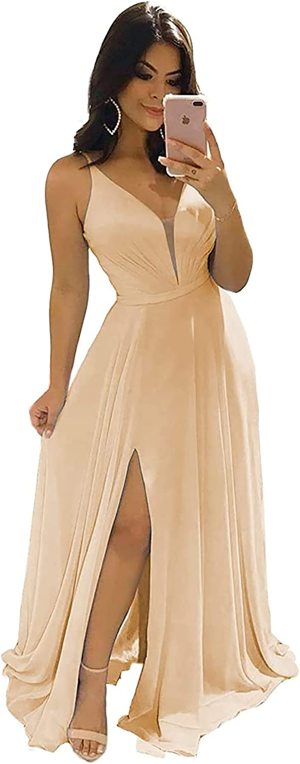 Simple Bridesmaid Dresses for Women Long Formal Prom Dress Evening Party Maxi Gown A Line V Neck with Slit