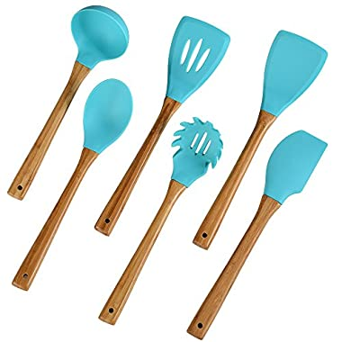6 Pieces Silicone Cooking Utensil Set,Nonstick Heat Resistant Kitchen Utensil Set BPA Free with Natural Wood Handle