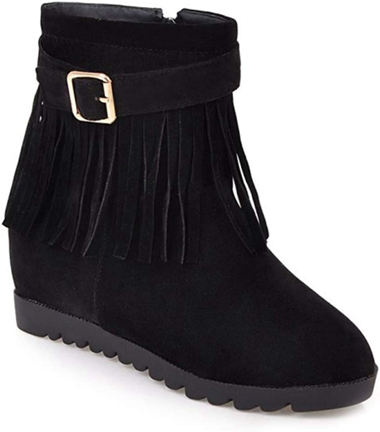 Fashion shoesbox Womens Fringe Buckle Mid Wedge Ankle Boots Suede Round Toe Zipper Hidden Heel Bootie Tassel Short Boot