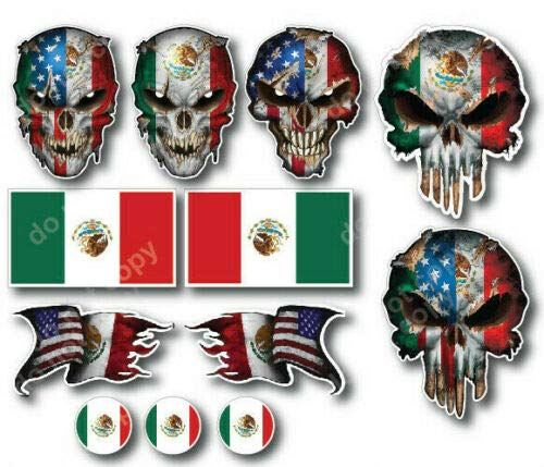 12 Mexican Skull Mexico American Flag 3M Sticker Decal Latino USA Country Pride - for car Truck Window Bumper Phone case Computer Laptop - Free Decals with Every Order!