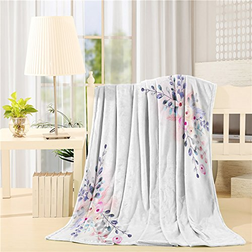 Floral Bed Blanket 40 x 50 inch Lightweight Flannel Blankets Watercolor Flower Botanical Natural Art Air Conditioning Throw Blanket for Bedroom Living Rooms Sofa Throw Cover