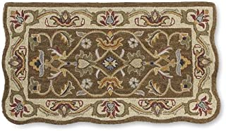 Rectangular Hand Tufted Fire Resistant Scalloped Wool Fireplace McLean Hearth Rug 25 W x 45 L Brown/Gold