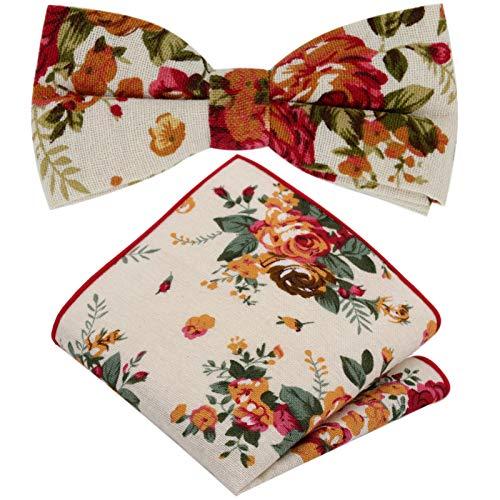 GASSANI 2Tlg Fliegenset, Vintage Creme-Weisse Leinen Herren-Fliege, Taschentuch Rosen-Muster, Hochzeitsfliege Anzug-Schleife Vor-Gebunden Ein-Stecktuch