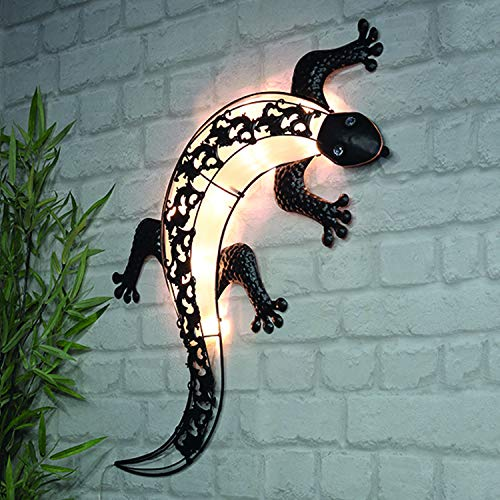 FineHome LED Solarlampe Wandlampe Wandbild Hängedeko Solarleuchte beleuchtet 'Gecko' Strass-Steine L72xB32cm