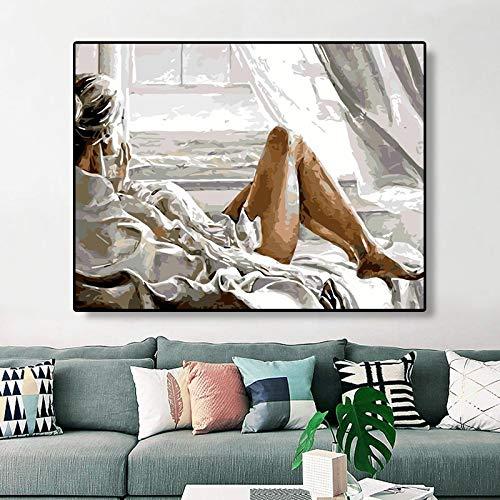 DIY Schilderen op nummer Handgetekende frameloze foto van een charmante vrouw die uit het raam kijkt40x50cm