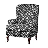 Anchengcraft 2PCS Wingback Chair Slipcovers Stretchy Wingback Armchair Covers Spandex Polyester Sofa Covers Printed Furniture Protector for Living Room Wingback Chair(04)