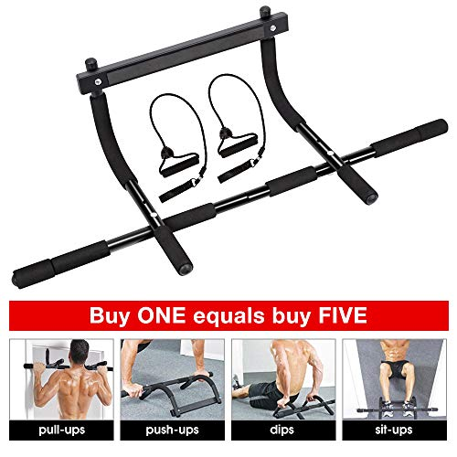 Pull up bar for Doorway, Heavy Duty Wall Pull Up Bar, Portable Chin Up Bar/Pullup bar Iron Gym/Home Upper Body Workout Equipment Bar No Screw for Men/Women (Black)