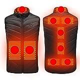 Chaquetas Térmicas Recargables USB Ropa Chaleco Calefactor Eléctrico Calentador de Cuerpo con Calefacción Lavable con 4 Zonas de Calentamiento para Viajes Al Aire Libre Motocicleta