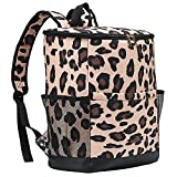 Cooler Backpack Women Leopard Leak Proof Backpack Cooler Bags Lightweight Soft Lunch Backpack with Cooler Compartment ,Wine Cooler for Hiking Camping ,24 cans