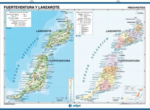 Mapa mural Gran Canaria / Fuerteventura y Lanzarote impreso a doble cara Físico / Político envarillado, con colgadores y tubo 140 x 100 cm