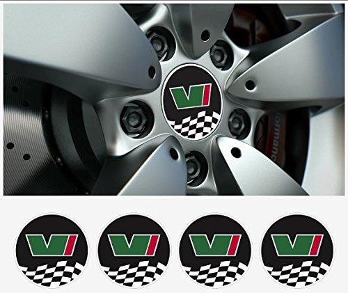 snstyling.com Aufkleber passend für Skoda Motorsport VRS Felgendeckel Nabendeckel Aufkleber 4 STK. Satz Ø 55 mm (Schwarz Weiss – Gruen – Rot)