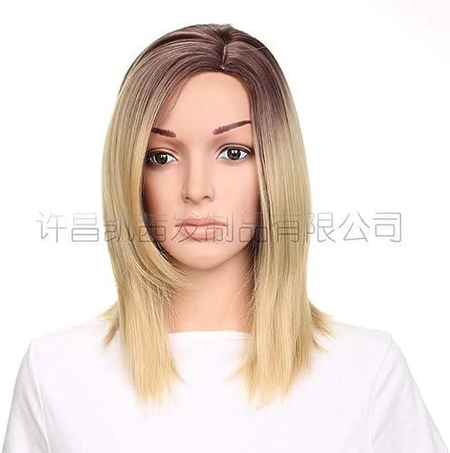 precios bajos Peluca Tijeras Peluca Europea y americana americana americana Modelos populares Damas Gradiente Parcialmente corto peluca de pelo recto Conjunto  todos los bienes son especiales