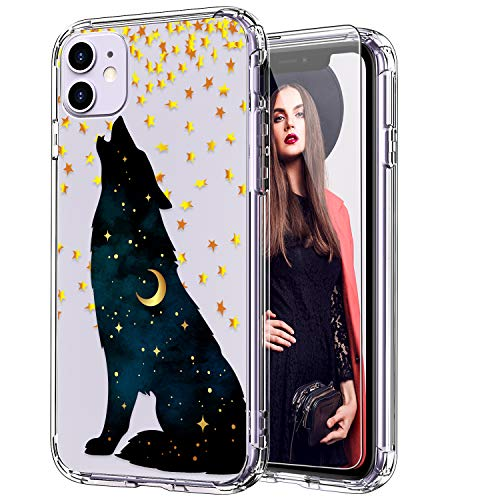 ICEDIO iPhone 11 Case with Screen Protector,Clear with Fashion Designs for Girls Women,Shockproof Slim Fit TPU Cover Protective Phone Case for Apple iPhone 11 6.1 inch Howling Wolf