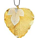 Ana Morales señorías 3er-Set Big Leaf dorado de 24 quilates + hinojo árbol plateado + cadena de acero inoxidable madera 45 cm longitud de la hoja ca 70-85 millimeter
