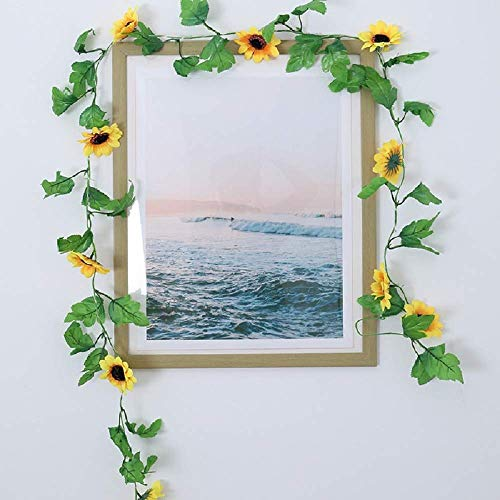 Artificial Sunflower Garland 4 Strands 2.4m Artificial Vine Artificial Flowers Hanging Plant Green Plants for Farmhouse Room Wall Wedding Party Background Decorations (Sunflowers)