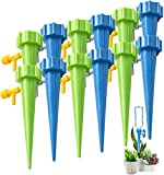Self Watering Spikes, Slow Release Control Valve Switch Automatic Irrigation Watering Drip System, Adjustable Water Volume Drip System for Outdoor and Vacation Plant Watering-12Pack(6 green&6 blue)