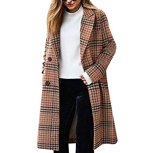 Women's Winter Turn Down Shawl Collar Overcoat Double Breasted Wool Coat (Camel, TAG 4XL(Fits Like US XL) Chest:51.96
