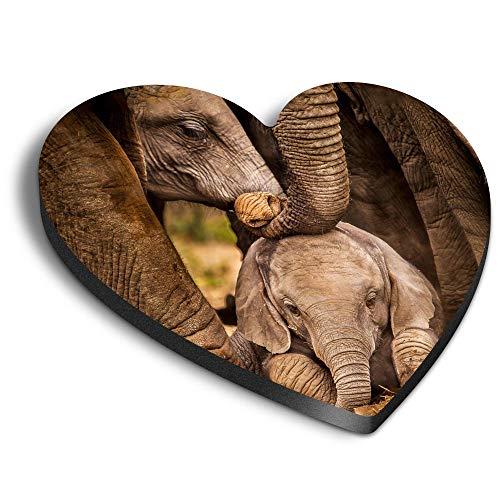 Destination Vinyl ltd Imanes de corazón MDF – Baby African Elephant Hata África Animal para oficina, armario y pizarra blanca, pegatinas magnéticas 44192