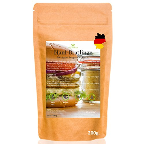 Hanf Bratlinge - vegane Burgermischung 200g - vegane Backmischung für Burger und Falafel - Made in Germany mit Hanfmehl bzw. Hanfprotein