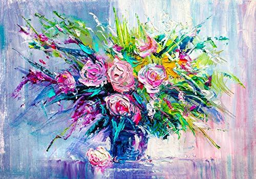 wandmotiv24 Fototapete Gemälde mit Blumenstrauß in Vase M 250 x 175 cm - 5 Teile Fototapeten, Wandbild, Motivtapeten, Vlies-Tapeten Kunst Abstrakt M5980