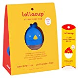 Lollaland Weighted Straw Sippy Cup for Baby: Lollacup - Transition Kids, Infant & Toddler Sippy Cup (6 months - 9 months) | Shark Tank Products | Lollacup (Brave Blue) w/ Straw Replacement Pack