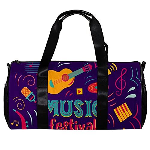 Borsone rotondo da palestra con tracolla staccabile, strumento per festival musicale, chitarra, violino, tamburo, jazz, borsa per la notte per donne e uomini
