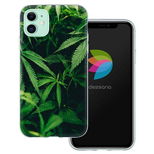 dessana Cannabis Weed durchsichtige Schutzhülle Handy Hülle Cover Tasche für Apple iPhone 11 Weed Blätter