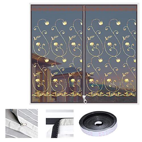 Qianc klamboe raam gaas plakken installeren muggennet magneetgordijn borduurwerk bruin