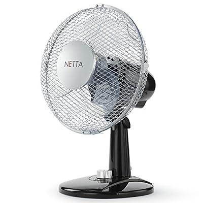 NETTA Electric Desk Fan 9 Inch,2-Speed Oscillating Quiet Cooling Table Fan – 30W Black/Silve