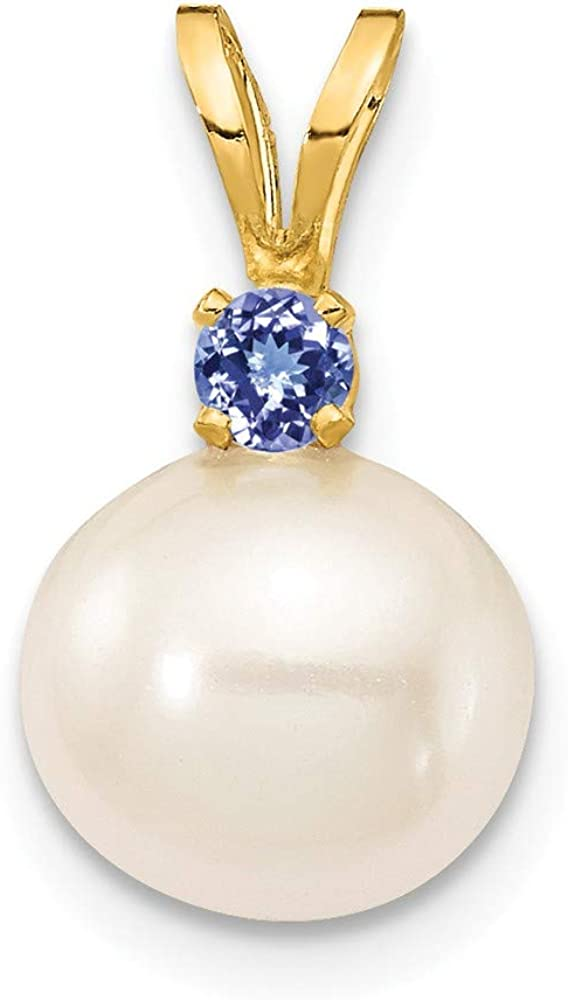 Solid 14k Yellow Gold Tanzanite Blue December Gemstone 8-8.5mm White Round Freshwater Cultured Pearl Pendant Charm
