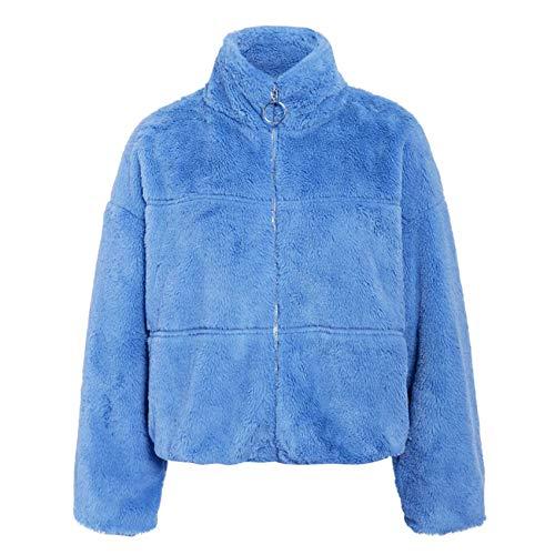 Winter Fashion Stand Kragen ReißVerschluss Cardigan PlüSch Kurze Damenjacke