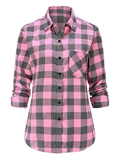 Dioufond Camicie di Flanella Donna Maniche Lunghe Camica a Quadri Donna Flanella Rosa XL