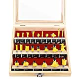 KOWOOD Router Bits Sets of 24X Pieces 1/4 Inch Shank Tongue and...