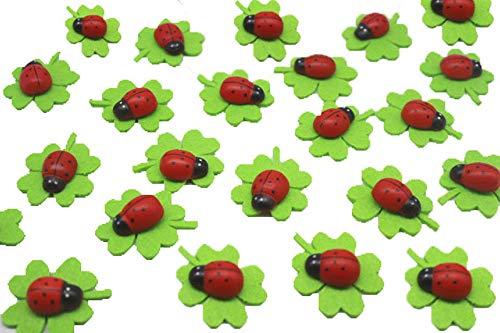 Super Idee 50 Stück Selbstklebende Filzkleeblätter mit Marienkäfer als Glücksbringer Glückskäfer Glücksklee zur Verschönern von Geschenken Karten Briefe Tischkarten Blumen für Einladung Geschenk Deko