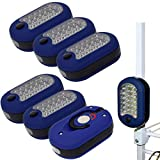 Evelots Flashlight-Compact-Magnetic-Swivel Hook-Super Bright-27 LED Lights-Set/6