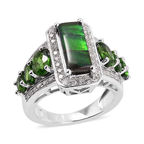 TJC Solitaire Ring for Women with Accents AA Ammolite in 925 Sterling Silver with Diopside, White Zircon Size M, 4.425 Ct