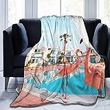 WXM Couverture de yoga en flanelle, polaire et flanelle, motif flamant rose Floride pour un meilleur repos dans un hôtel, une climatisation et une qualité hypoallergénique de 127 cm x 40 cm